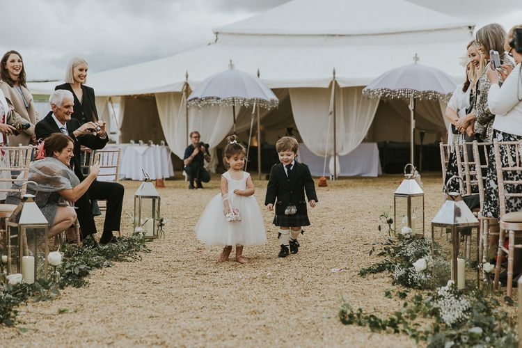 Flower Girl & Page Boy In Kilt // Scottish Wedding With Ceilidh At Axnoller Dorset With Bohemian Styling Outdoor Wedding Ceremony With Images From Paul Underhill Dorset Wedding Photographer