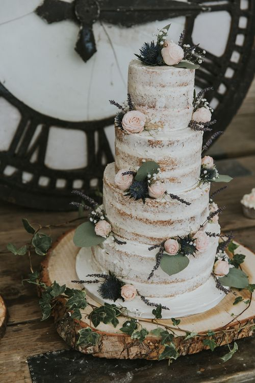 Semi Naked Wedding Cake // Scottish Wedding With Ceilidh At Axnoller Dorset With Bohemian Styling Outdoor Wedding Ceremony With Images From Paul Underhill Dorset Wedding Photographer