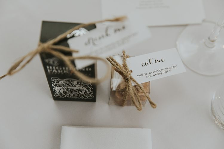 Edible & Drinkable Wedding Favours // Scottish Wedding With Ceilidh At Axnoller Dorset With Bohemian Styling Outdoor Wedding Ceremony With Images From Paul Underhill Dorset Wedding Photographer
