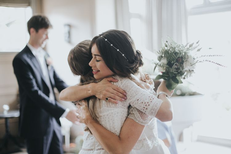 Bride in Suzanne Neville Separates | Intimate Wedding at The Olde Bell Pub, Berkshire | Revival Rooms Floral Design, Decor & Styling | Grace Elizabeth Photo & Film