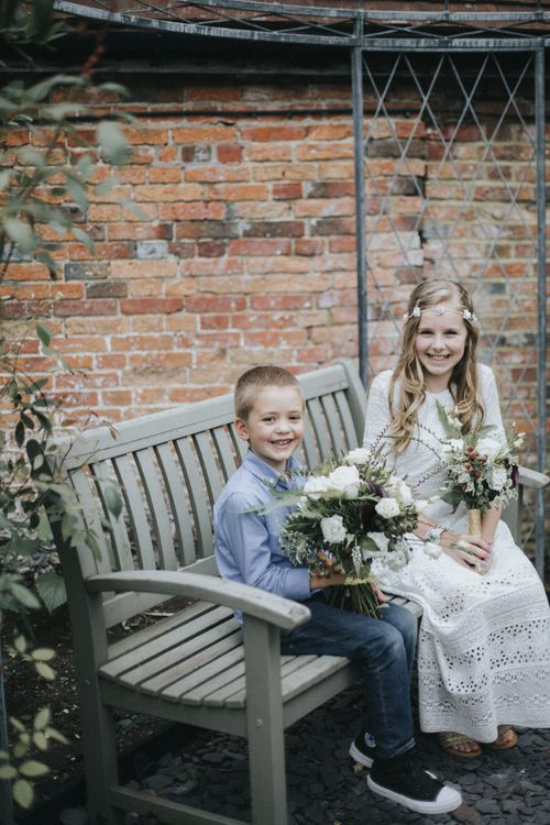Flower Girl and Page Boy | Intimate Wedding at The Olde Bell Pub, Berkshire | Revival Rooms Floral Design, Decor & Styling | Grace Elizabeth Photo & Film