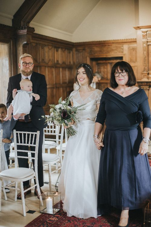 Wedding Ceremony | Bridal Entrance in Suzanne Neville Separates | Intimate Wedding at The Olde Bell Pub, Berkshire | Revival Rooms Floral Design, Decor & Styling | Grace Elizabeth Photo & Film