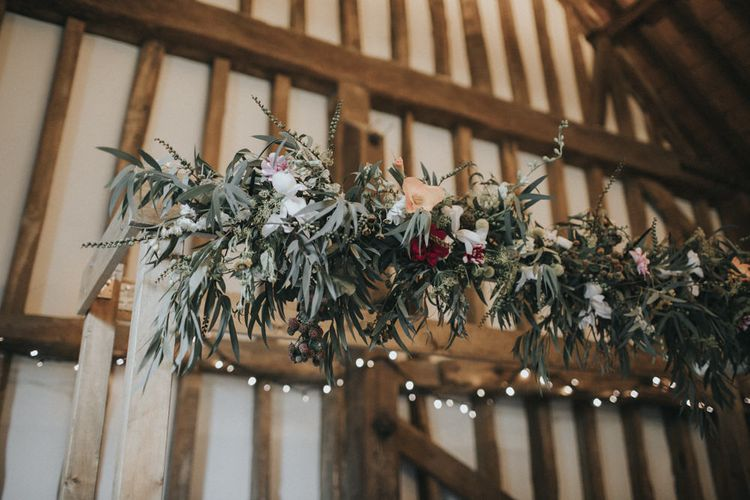 Floral Garland | Intimate Wedding at The Olde Bell Pub, Berkshire | Revival Rooms Floral Design, Decor & Styling | Grace Elizabeth Photo & Film