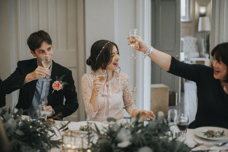 Wedding Speeches | Bride in Suzanne Neville Separates | Groom in Gieves and Hawkes Suit | Intimate Wedding at The Olde Bell Pub, Berkshire | Revival Rooms Floral Design, Decor & Styling | Grace Elizabeth Photo & Film