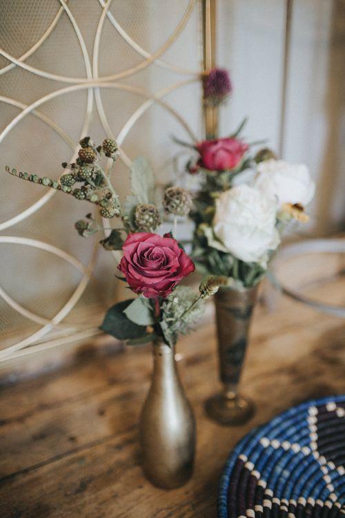 Flower Stems in Goblets Wedding Decor | Intimate Wedding at The Olde Bell Pub, Berkshire | Revival Rooms Floral Design, Decor & Styling | Grace Elizabeth Photo & Film