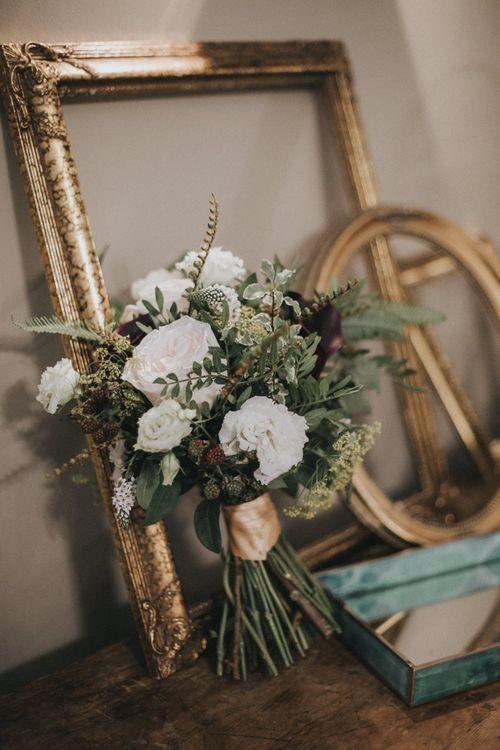 Vintage Rose Bridal Bouquet | Intimate Wedding at The Olde Bell Pub, Berkshire | Revival Rooms Floral Design, Decor & Styling | Grace Elizabeth Photo & Film