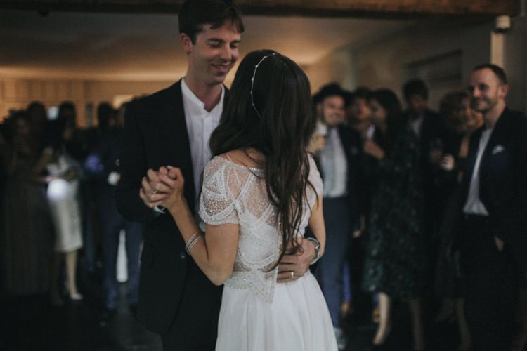 First Dance | Bride in Suzanne Neville Bridal Separates | Groom in Gieves and Hawkes Suit | Intimate Wedding at The Olde Bell Pub, Berkshire | Revival Rooms Floral Design, Decor & Styling | Grace Elizabeth Photo & Film