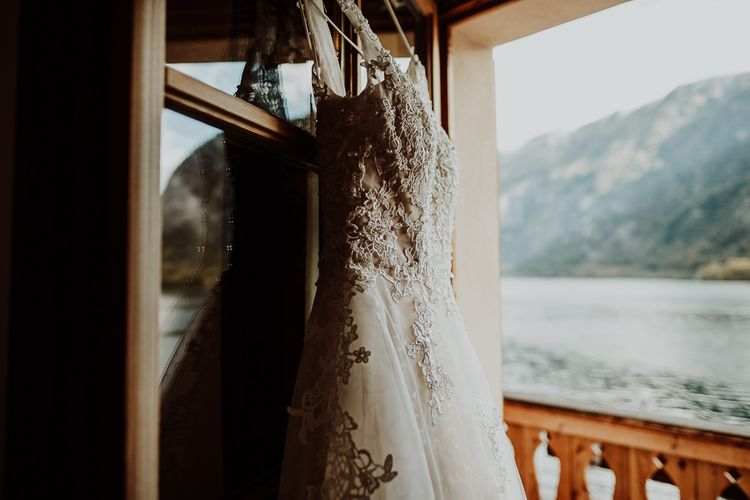 Lace Wedding Dress Hanging Up