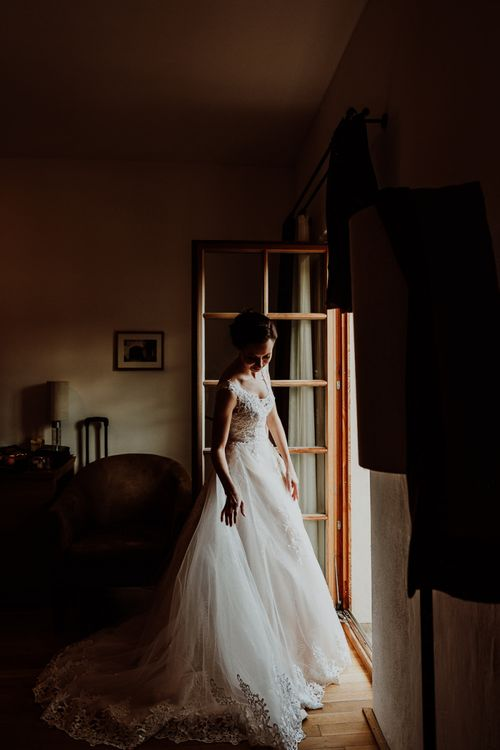 Bride in Lace and Tulle Princess Wedding Dress
