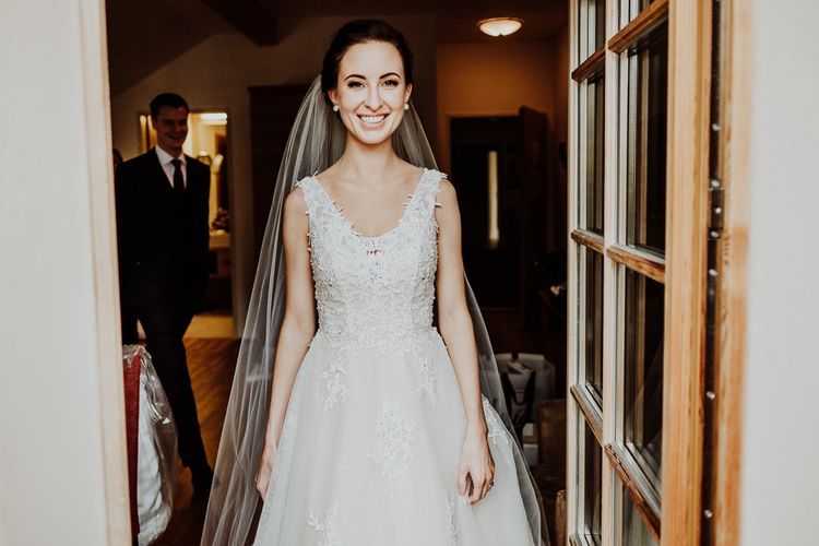Beautiful Bride in Embellished Bodice Wedding Dress