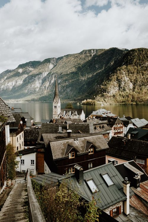 Rooftop Scenery of Hallstatt in Austria