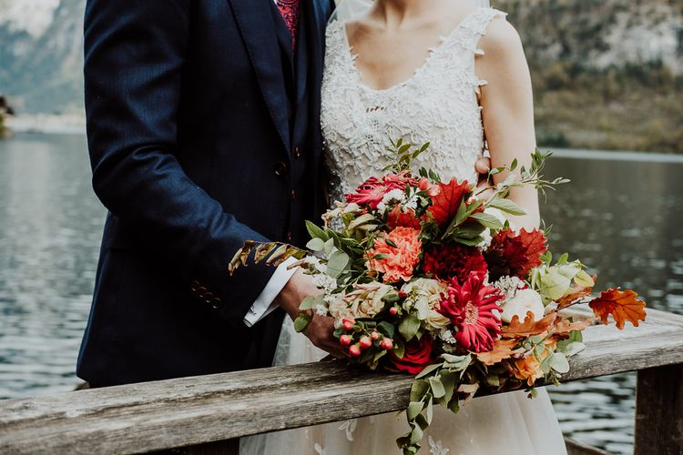 Red and Orange Flower Wedding Bouquet