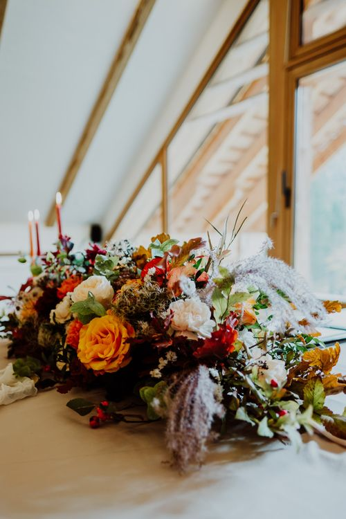 Autumnal Wedding Flowers including Red and Orange Flowers