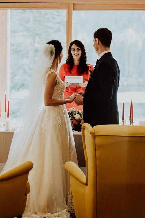 Bride and Groom Exchanging Vows During The Wedding Ceremony