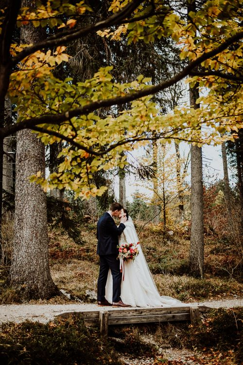 Bride and Groom Portrait Under an Autumnal Tree