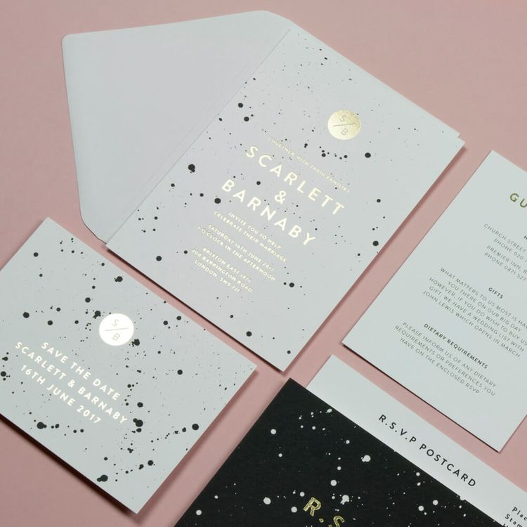 Paper Grace Splatter Monochrome Wedding Stationery Suite with Gold Foil