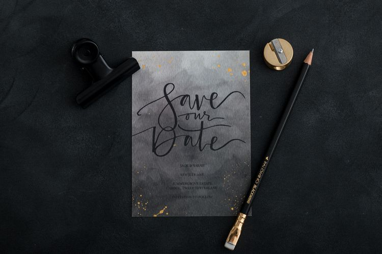 The Golden Letter Dark Watercolour Save The Date