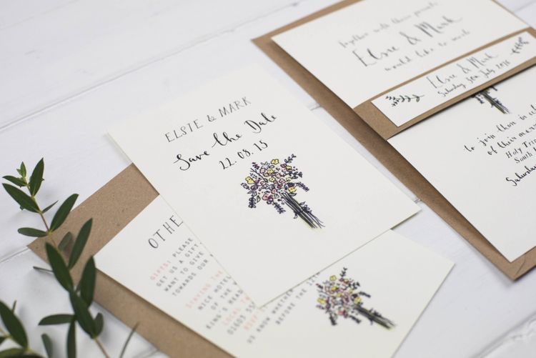 Wildflower Illustration Wedding Stationery Hand Illustrated Save The Date