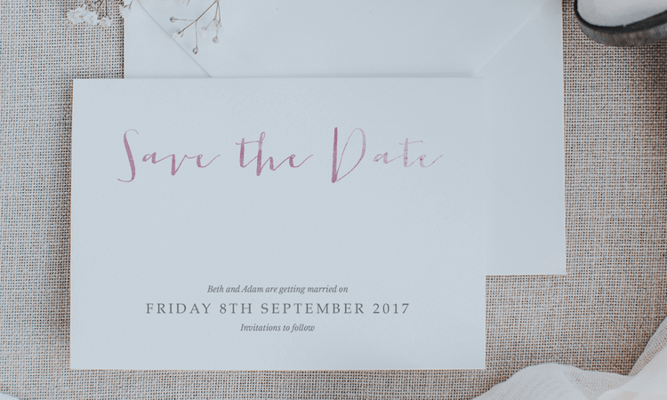 Lilac and White Pink on White Calligraphy Save The Date