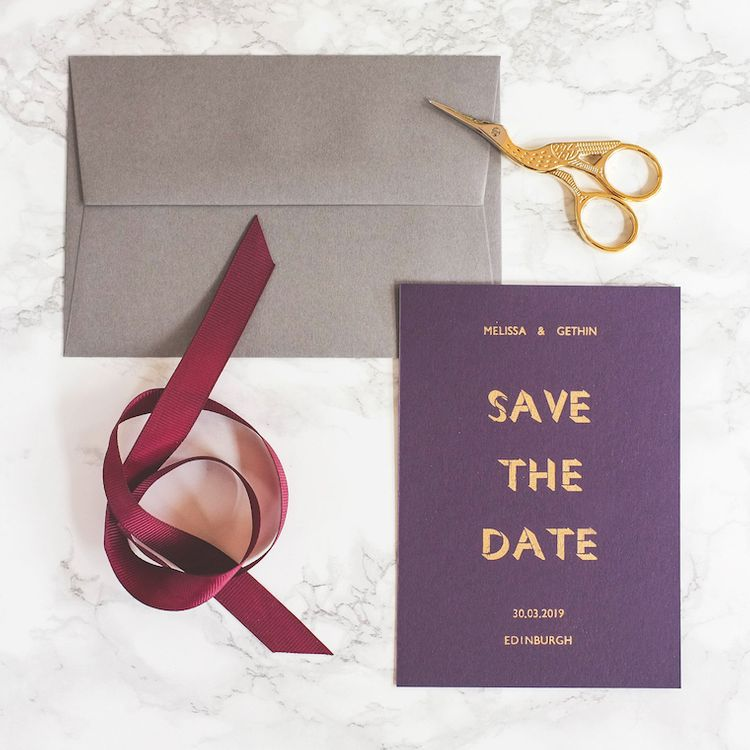 Ink and Paper Gold On Purple Luxury Save The Date