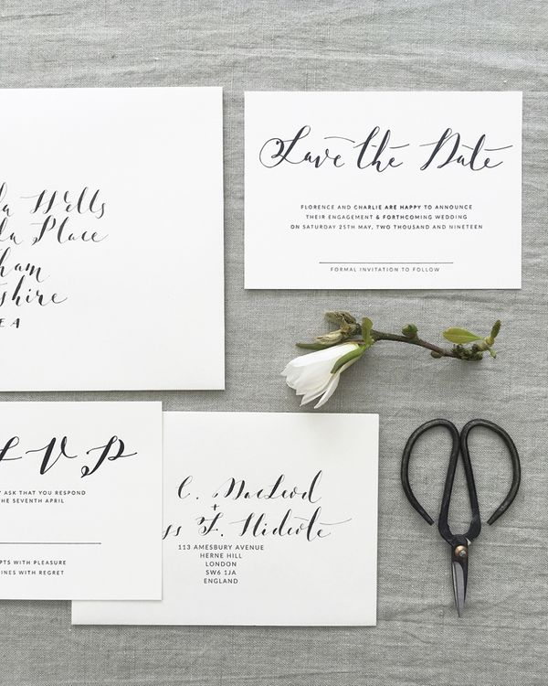 Lonetree Minimal Calligraphy Save The Date Wedding Stationery Suite