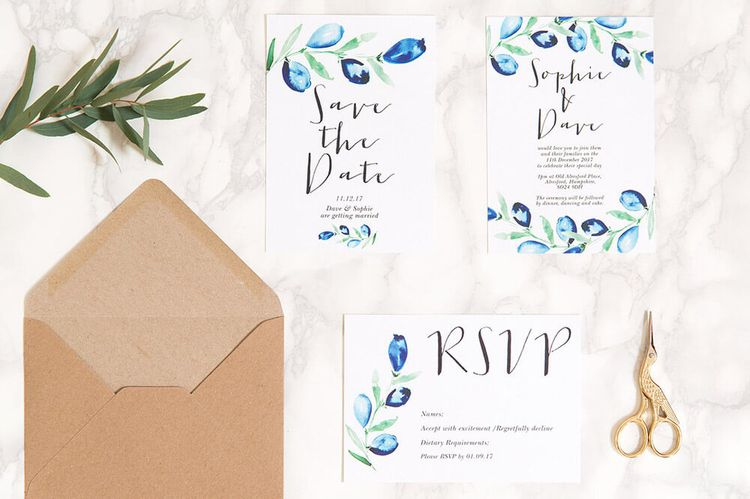 Olive and Bramble Blue Floral Calligraphy Save The Date Wedding Stationery Suite