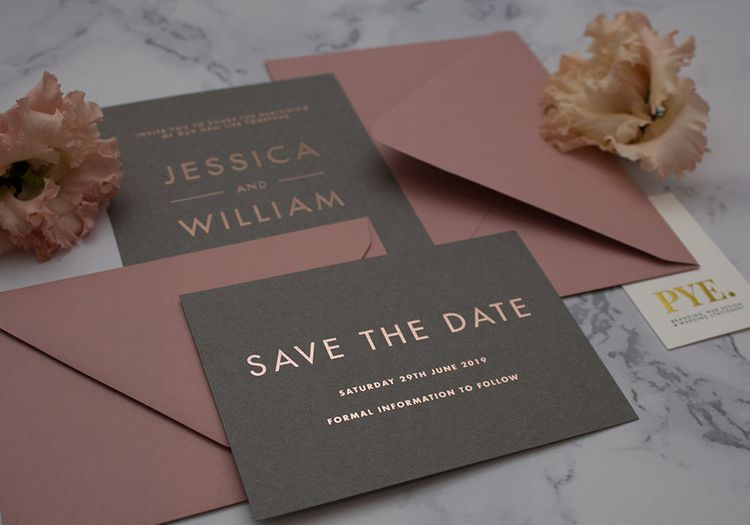 PYE Rose Gold on Grey and Mauve Save The Dates