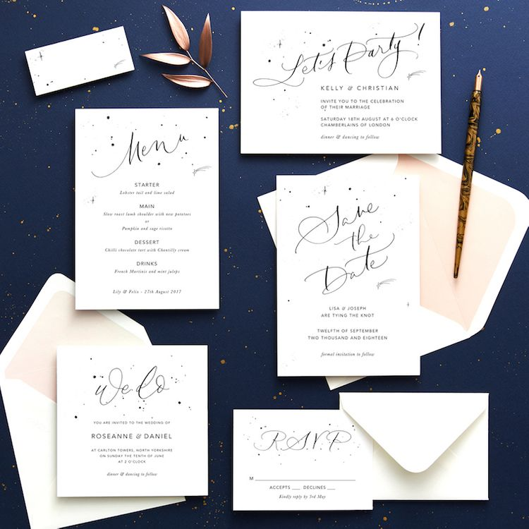 Papier Celestial Calligraphy Wedding Stationery Suite
