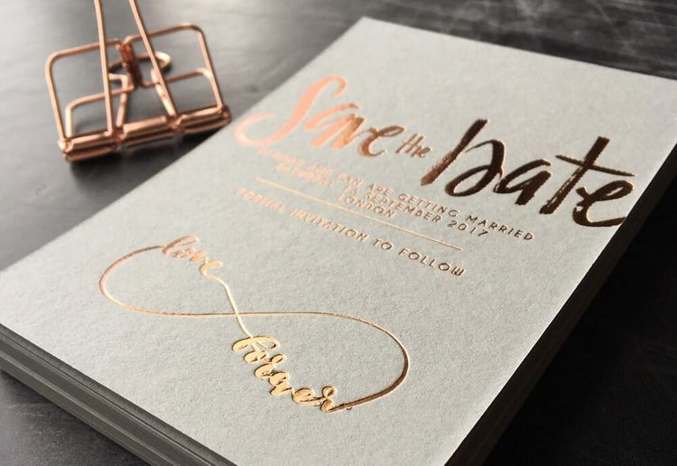 The Golden Letter Save The Date with Gold Foil