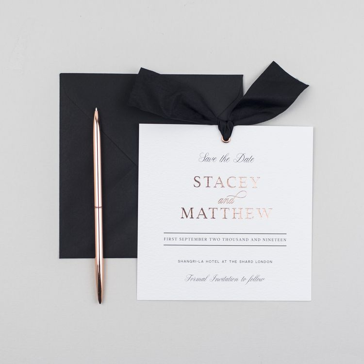 The Bridal Paperie Elegant Square Save The Date Gold Foil