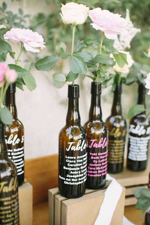 Brown Bottle Table Plan with  Colourful Writing on Vintage Dresser