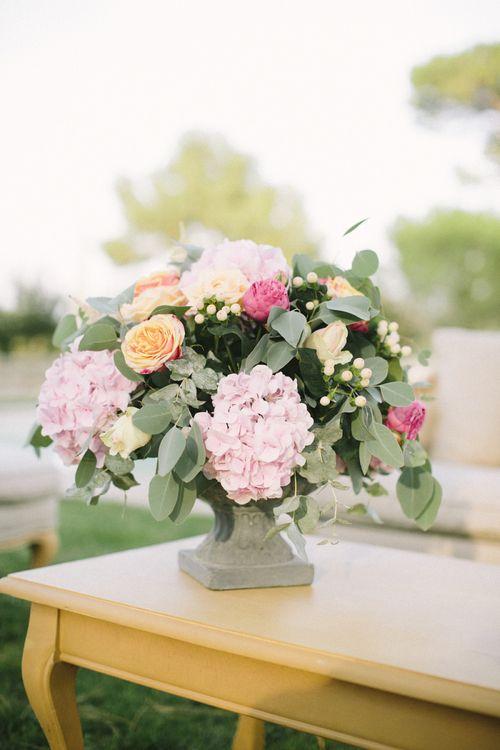 Pink Hydrangea, Peach Roses and Greenery Wedding Flowers