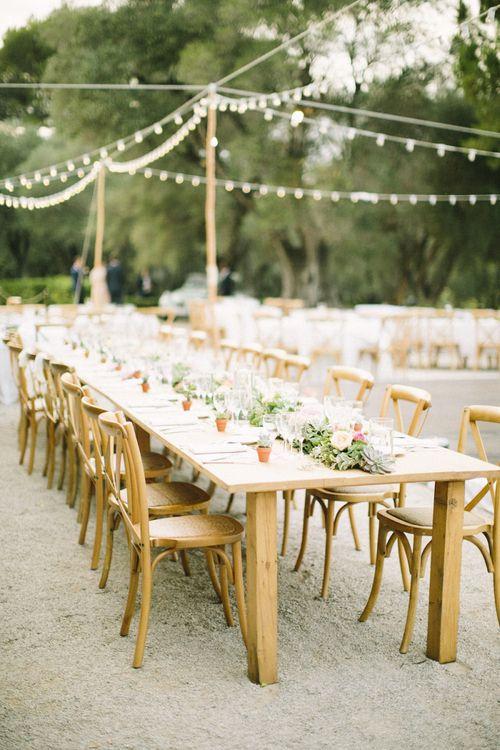 Al Fresco Wedding Breakfast with Trestle Tables and Festoon Lights