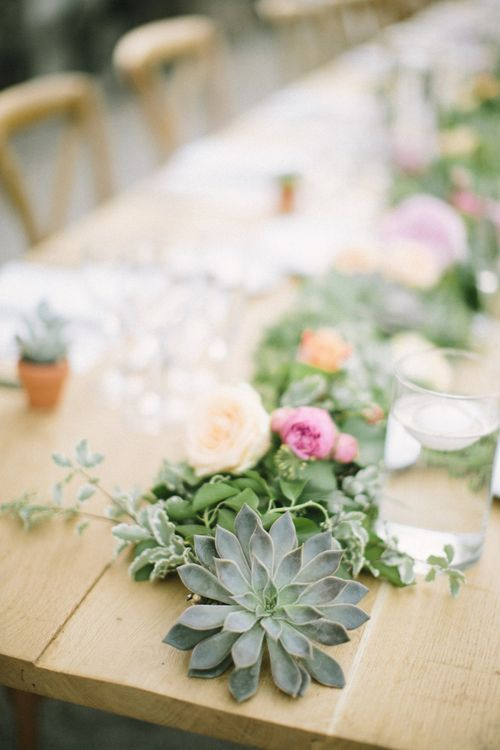 Floral Table Runner Wedding Flowers with Roses and Succulents