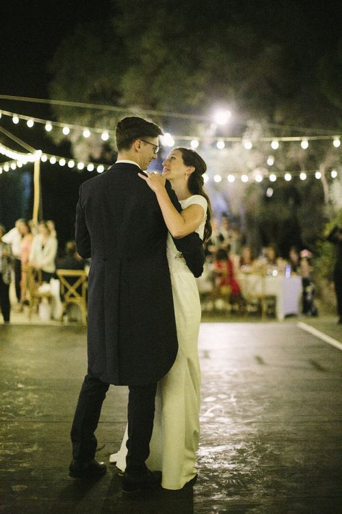 First Dance with Bride in Rime Arodaky Wedding Dress and Groom in Traditional Morning Suit