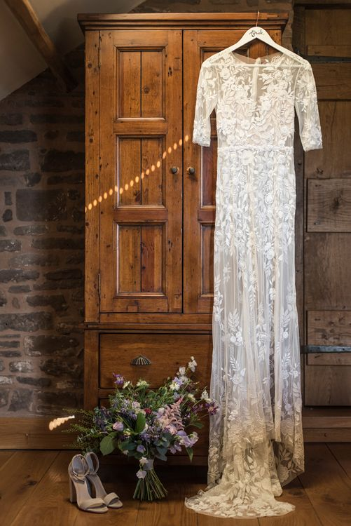 Hermione De Paula Inspired Wedding Dress With Embroidered Florals // Sugar Loaf Barn Wedding // Pale Grey Off The Shoulder Bridesmaids Dresses Rewritten // Groom In Harris Tweed // Hog Roast Evening Buffet // Eleanor Jane Photography