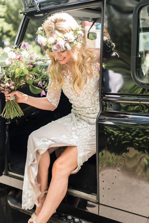 Bride Arriving At Church // Sugar Loaf Barn Wedding // Pale Grey Off The Shoulder Bridesmaids Dresses Rewritten // Groom In Harris Tweed // Hog Roast Evening Buffet // Eleanor Jane Photography