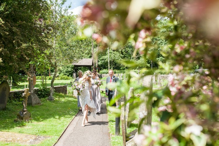 Arriving At The Church // Sugar Loaf Barn Wedding // Pale Grey Off The Shoulder Bridesmaids Dresses Rewritten // Groom In Harris Tweed // Hog Roast Evening Buffet // Eleanor Jane Photography