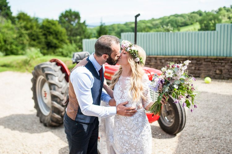 Tractor Wedding Transport // Sugar Loaf Barn Wedding // Pale Grey Off The Shoulder Bridesmaids Dresses Rewritten // Groom In Harris Tweed // Hog Roast Evening Buffet // Eleanor Jane Photography