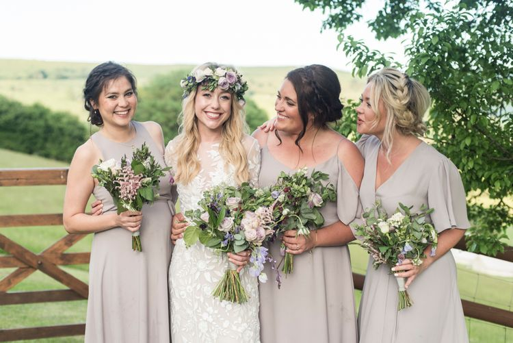 Bridesmaids In Pale Grey Dresses By Rewritten // Sugar Loaf Barn Wedding // Pale Grey Off The Shoulder Bridesmaids Dresses Rewritten // Groom In Harris Tweed // Hog Roast Evening Buffet // Eleanor Jane Photography