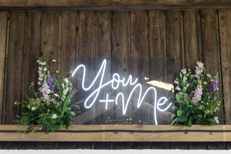 You & Me Neon Sign For Wedding // Sugar Loaf Barn Wedding // Pale Grey Off The Shoulder Bridesmaids Dresses Rewritten // Groom In Harris Tweed // Hog Roast Evening Buffet // Eleanor Jane Photography