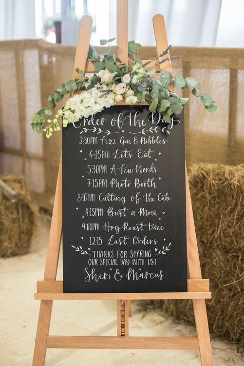 Chalkboard Order Of The Day Sign For Wedding // Sugar Loaf Barn Wedding // Pale Grey Off The Shoulder Bridesmaids Dresses Rewritten // Groom In Harris Tweed // Hog Roast Evening Buffet // Eleanor Jane Photography