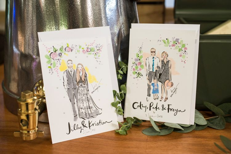 Fashion Illustrations of Wedding Guests // Sugar Loaf Barn Wedding // Pale Grey Off The Shoulder Bridesmaids Dresses Rewritten // Groom In Harris Tweed // Hog Roast Evening Buffet // Eleanor Jane Photography