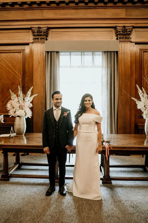 Bride and groom just married at Town Hall wedding