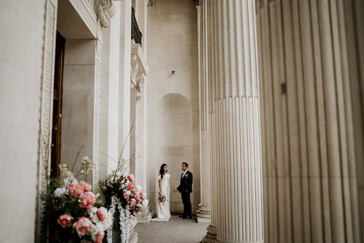Bride and groom portraits by Elena Popa Photography at Old Marylebone Town Hall