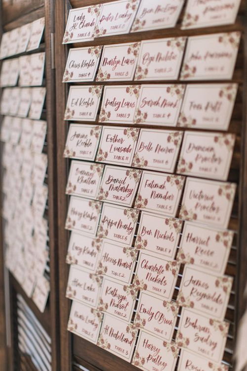 Shutter Table Plan With Escort Cards For Wedding At Trinity Buoy Wharf // Wedding Planned By Liz Linkleter Events // Holly Clark Photography