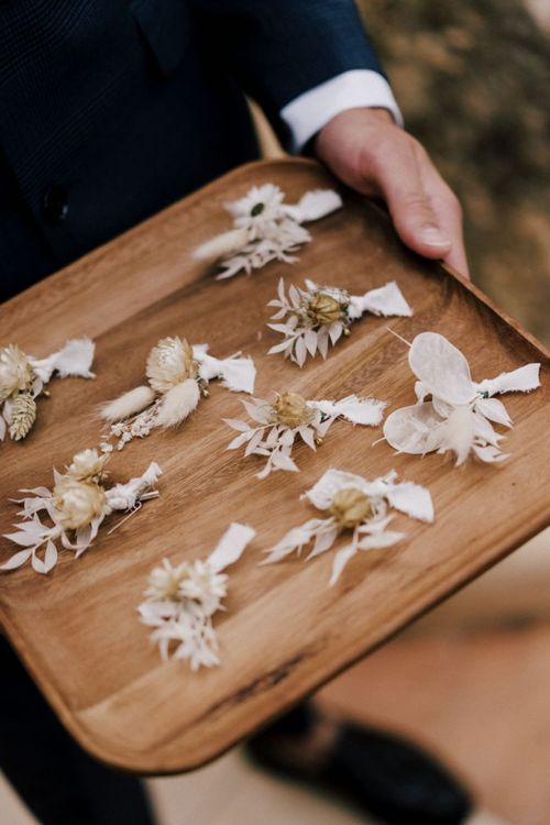 Natural Wedding Buttonholes with Dried Graces and Orchids