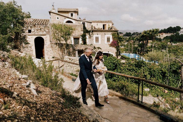 Wedding Ceremony Bridal Entrance with Bride in Margaux Tardits Wedding Dress