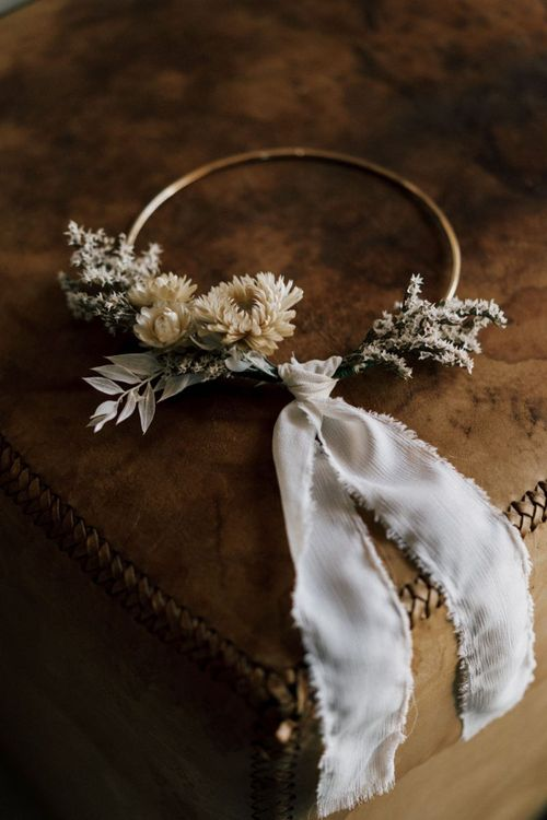 Dried Flower Hoop Wedding Decor Tied with Ribbon