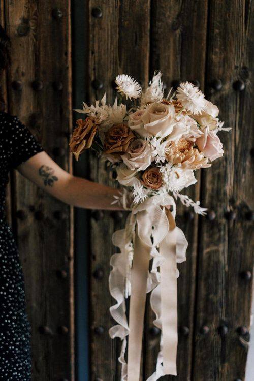Nude Rose Wedding Bouquet Tied with Ribbon